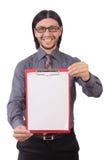 Νέος επιχειρηματίας με το έγγραφο που απομονώνεται στο λευκό Στοκ Εικόνα