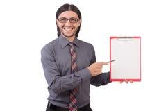 Νέος επιχειρηματίας με το έγγραφο που απομονώνεται στο λευκό Στοκ φωτογραφίες με δικαίωμα ελεύθερης χρήσης