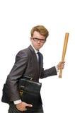 Νέος επιχειρηματίας με το ρόπαλο του μπέιζμπολ που απομονώνεται επάνω Στοκ φωτογραφία με δικαίωμα ελεύθερης χρήσης