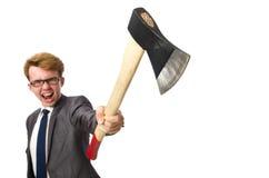 Νέος επιχειρηματίας με το όπλο που απομονώνεται στο λευκό Στοκ εικόνα με δικαίωμα ελεύθερης χρήσης