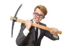 Νέος επιχειρηματίας με το όπλο που απομονώνεται στο λευκό Στοκ φωτογραφία με δικαίωμα ελεύθερης χρήσης