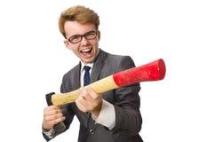 Νέος επιχειρηματίας με το όπλο που απομονώνεται στο λευκό Στοκ εικόνες με δικαίωμα ελεύθερης χρήσης