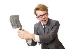 Νέος επιχειρηματίας με το όπλο που απομονώνεται Στοκ Εικόνες