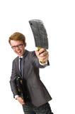 Νέος επιχειρηματίας με το όπλο που απομονώνεται Στοκ Φωτογραφίες