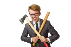 Νέος επιχειρηματίας με το όπλο Στοκ φωτογραφία με δικαίωμα ελεύθερης χρήσης