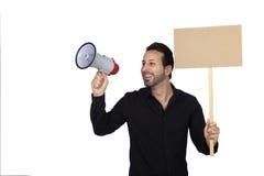Νέος επιχειρηματίας με Megaphone και μια αφίσα που πιστοποιούν μερικών Στοκ Φωτογραφία