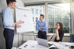 Νέος επιχειρηματίας που εξηγεί το διάγραμμα στους αρσενικούς και θηλυκούς συναδέλφους Στοκ Εικόνες