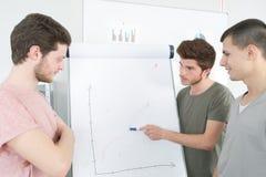 Νέος επιχειρηματίας που εξηγεί το διάγραμμα στο whiteboard στους συναδέλφους Στοκ φωτογραφία με δικαίωμα ελεύθερης χρήσης