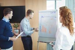 Νέος επιχειρηματίας που συζητά πέρα από το whiteboard με την ομάδα Στοκ Φωτογραφίες
