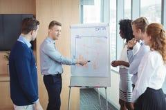 Νέος επιχειρηματίας που συζητά πέρα από το whiteboard με τους συναδέλφους Στοκ Φωτογραφία