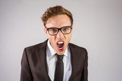 Νέος 0 επιχειρηματίας που φωνάζει στη κάμερα Στοκ Εικόνες