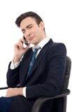 Νέος επιχειρηματίας που φωνάζει στο τηλέφωνο. Στοκ Εικόνες