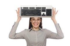 Νέος επιχειρηματίας στην αστεία έννοια στο λευκό Στοκ Εικόνες
