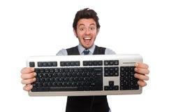 Νέος επιχειρηματίας στην αστεία έννοια στο λευκό Στοκ εικόνα με δικαίωμα ελεύθερης χρήσης