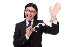 Νέος επιχειρηματίας στις χειροπέδες που απομονώνεται στο λευκό Στοκ Φωτογραφία