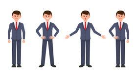 Νέος επιχειρηματίας στο σκούρο μπλε χαρακτήρα κινουμένων σχεδίων κοστουμιών Η διανυσματική απεικόνιση του έξυπνου αρσενικού υπαλλ ελεύθερη απεικόνιση δικαιώματος
