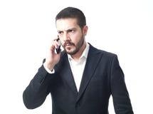 0 νέος επιχειρηματίας στο τηλέφωνο Στοκ Εικόνα