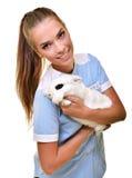 νέος θηλυκός κτηνιατρικός γιατρός που φέρνει ένα κουνέλι Στοκ Φωτογραφίες