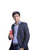 Νέος Ινδός στο κοστούμι με το βιβλίο Στοκ φωτογραφία με δικαίωμα ελεύθερης χρήσης