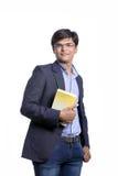 Νέος Ινδός στο κοστούμι με το βιβλίο Στοκ Εικόνες