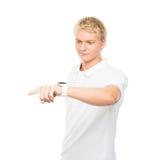 Νέος και όμορφος έφηβος που ωθεί ένα φανταστικό κουμπί Στοκ εικόνες με δικαίωμα ελεύθερης χρήσης