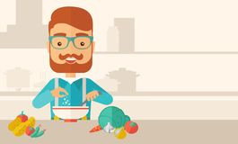 Νέος καυκάσιος τρώει τη σαλάτα για το μεσημεριανό γεύμα ελεύθερη απεικόνιση δικαιώματος