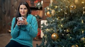 Νέος καφές κατανάλωσης γυναικών μπροστά από το χριστουγεννιάτικο δέντρο στο σπίτι φιλμ μικρού μήκους