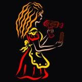 Νέος κομμωτής στο κόκκινο φόρεμα με το στεγνωτήρα τρίχας και τη χτένα ελεύθερη απεικόνιση δικαιώματος