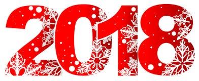 Νέος κόκκινος αριθμός έτους 2018 με άσπρα snowflakes Στοκ Εικόνες