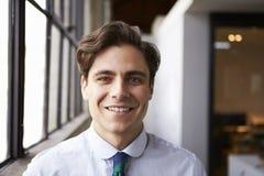 Νέος λευκός επιχειρηματίας που χαμογελά στη κάμερα, πορτρέτο στοκ εικόνα