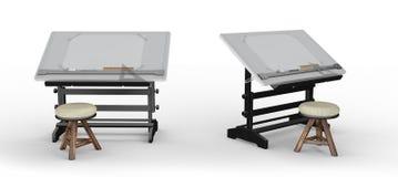 Νέος μαύρος μεταλλικός πίνακας σχεδίων με τα εργαλεία και το σκαμνί, clippin Στοκ φωτογραφίες με δικαίωμα ελεύθερης χρήσης