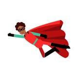 Νέος μαύρος στην κλασική κόκκινη απεικόνιση κοστουμιών superhero Στοκ Φωτογραφία