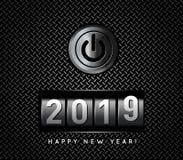Νέος μετρητής 2019 έτους με τη διανυσματική απεικόνιση κουμπιών δύναμης διανυσματική απεικόνιση