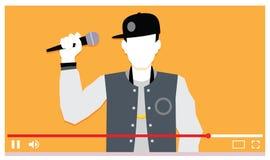 Νέος μουσικός που αποδίδει στο βίντεο Διαδικτύου Στοκ φωτογραφία με δικαίωμα ελεύθερης χρήσης