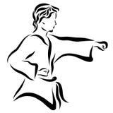 Νέος μπόξερ στο κιμονό, χτύπημα ελεύθερη απεικόνιση δικαιώματος
