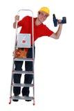 Νέος ξυλουργός επάνω στη σκάλα Στοκ Εικόνα