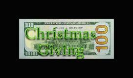 Νέος λογαριασμός $100 που απεικονίζει το δόσιμο Χριστουγέννων Στοκ εικόνα με δικαίωμα ελεύθερης χρήσης