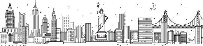 νέος ορίζοντας Υόρκη πόλεων διανυσματική απεικόνιση