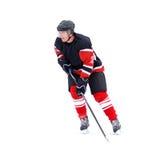 Νέος παίκτης χόκεϋ πάγου που απομονώνεται στο λευκό Στοκ Φωτογραφία