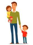 Νέος πατέρας με τα χαριτωμένα παιδιά του ελεύθερη απεικόνιση δικαιώματος