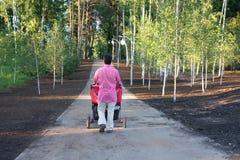 Νέος πατέρας με το δίδυμο καροτσάκι που περπατά στο θερινό πάρκο Στοκ φωτογραφία με δικαίωμα ελεύθερης χρήσης