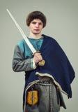Νέος πολεμιστής των στις αρχές Μεσαιώνων Στοκ Φωτογραφίες