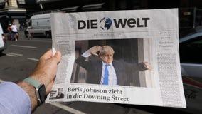 Νέος πρωθυπουργός Johnson Boris του Ηνωμένου Βασιλείου Die Welt απόθεμα βίντεο