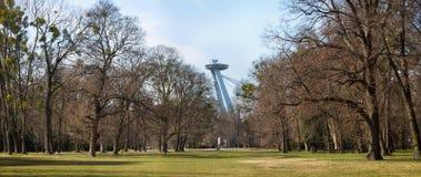 Νέος πυλώνας γεφυρών με το εστιατόριο UFO επάνω από treetops πάρκων, Μπρατισλάβα, Σλοβακία Στοκ εικόνες με δικαίωμα ελεύθερης χρήσης