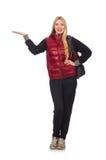 Νέος σπουδαστής γυναικών με το σακίδιο πλάτης που απομονώνεται επάνω Στοκ Εικόνα