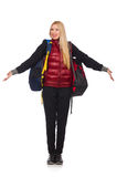 Νέος σπουδαστής γυναικών με το σακίδιο πλάτης που απομονώνεται Στοκ Εικόνες