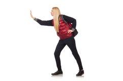Νέος σπουδαστής γυναικών με το σακίδιο πλάτης Στοκ Φωτογραφία
