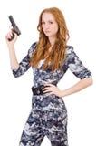 Νέος στρατιώτης γυναικών με το πυροβόλο όπλο Στοκ Φωτογραφία