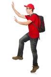 Νέος ταξιδιώτης με το σακίδιο πλάτης που απομονώνεται στο λευκό Στοκ φωτογραφία με δικαίωμα ελεύθερης χρήσης