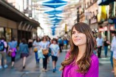 Νέος τουρίστας γυναικών Plaza del Sol Στοκ φωτογραφίες με δικαίωμα ελεύθερης χρήσης